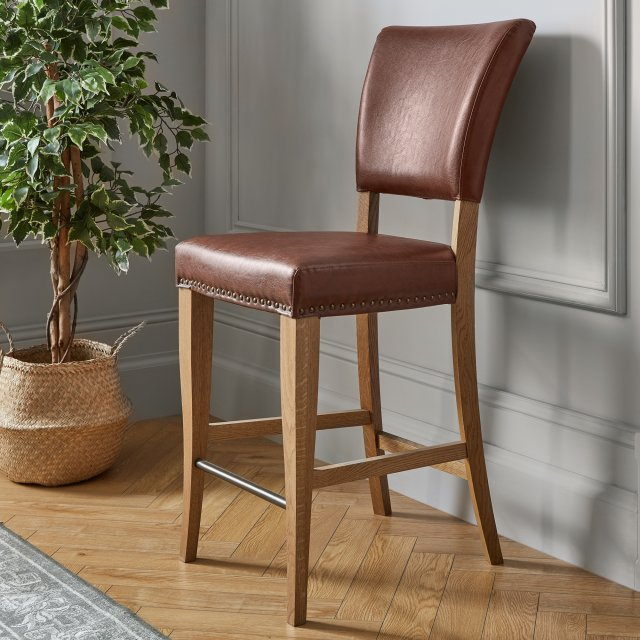Signature Collection Belgrave Rustic Oak Bar Stool Rustic Tan Faux Leather  (Pair)