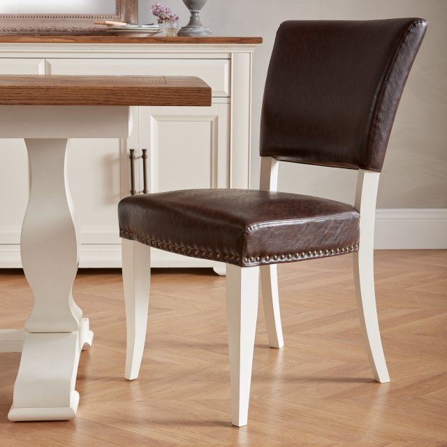 Signature Collection Belgrave Ivory Uph Chair -  Rustic Espresso Faux Leather  (Pair)
