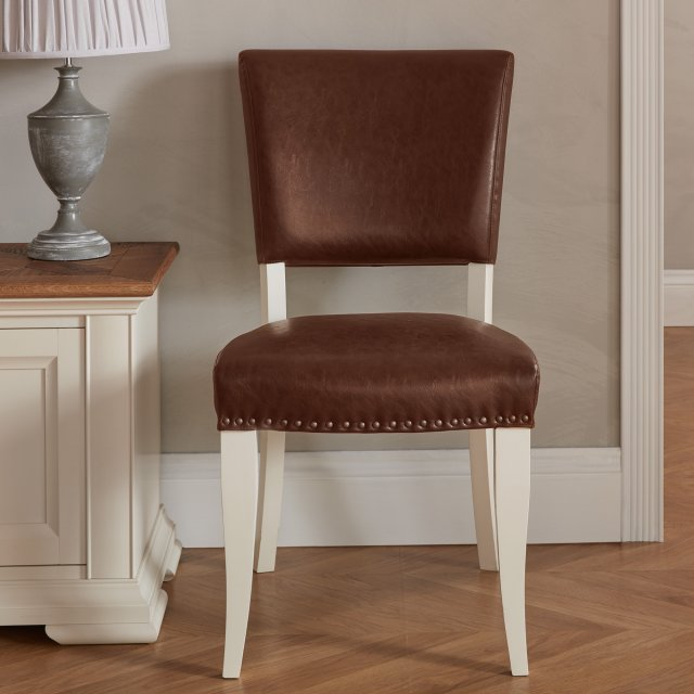 Signature Collection Belgrave Ivory Uph Chair -  Rustic Tan Faux Leather  (Pair)
