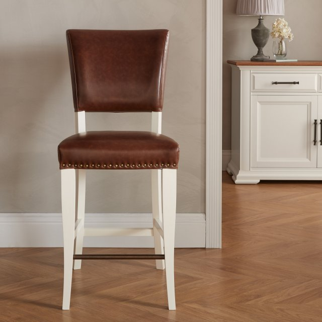 Signature Collection Belgrave Ivory Bar Stool -  Rustic Tan Faux Leather  (Pair)