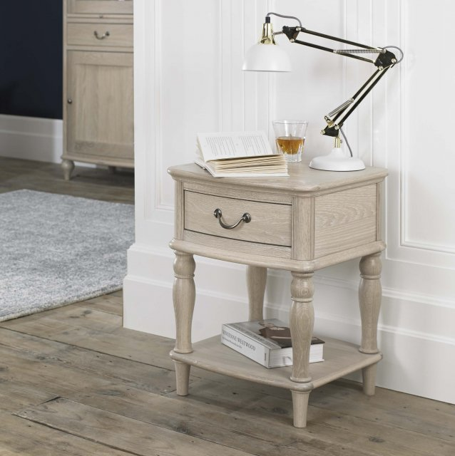 Signature Collection Bordeaux Chalk Oak Lamp Table With Drawer