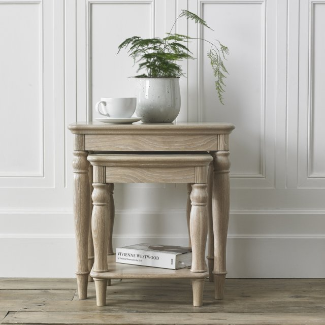 Signature Collection Bordeaux Chalk Oak Nest Of Lamp Tables