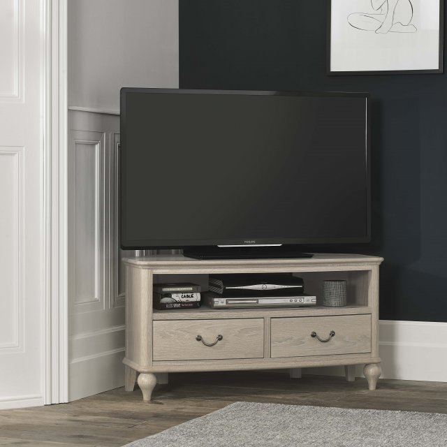 Signature Collection Bordeaux Chalk Oak Corner Tv Unit