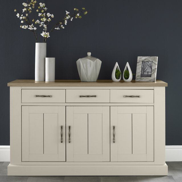Signature Collection Chartreuse Aged Oak & Antique White 3 Door Sideboard