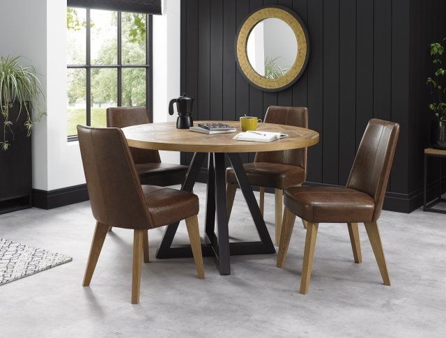 Signature Collection Indus Rustic Oak Circular Dining Table Dining Tables Bentley Designs