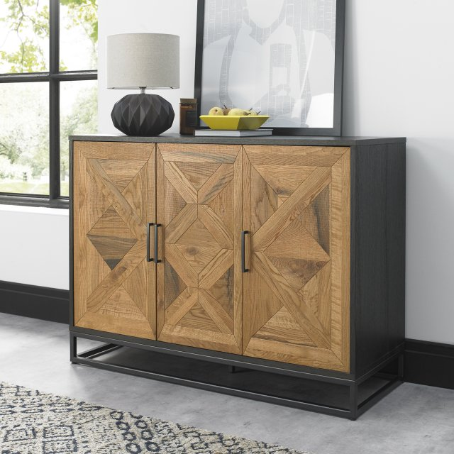 Signature Collection Indus Rustic Oak & Peppercorn Narrow Sideboard