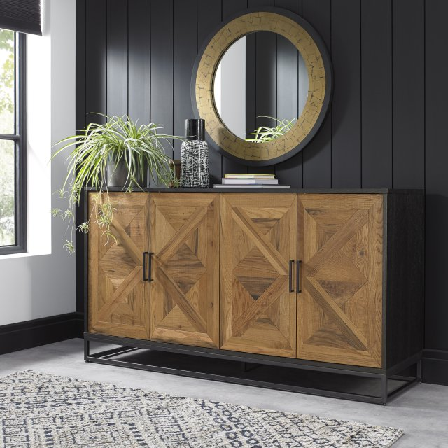 Signature Collection Indus Rustic Oak & Peppercorn Wide Sideboard