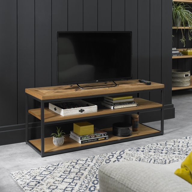 Signature Collection Indus Rustic Oak Open Entertainment Unit