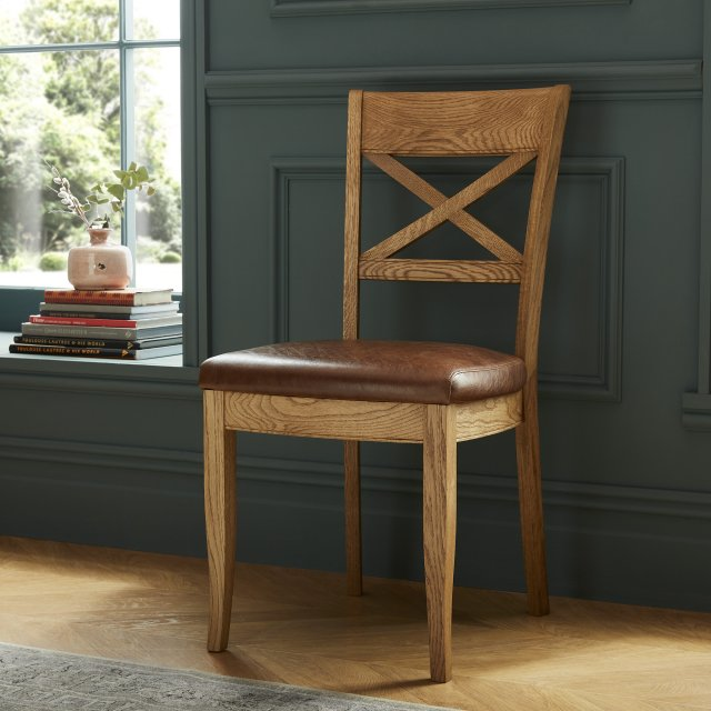 Signature Collection Westbury Rustic Oak X Back Chair  - Tan Faux Leather (Pair)