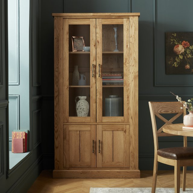 Signature Collection Westbury Rustic Oak Display Cabinet
