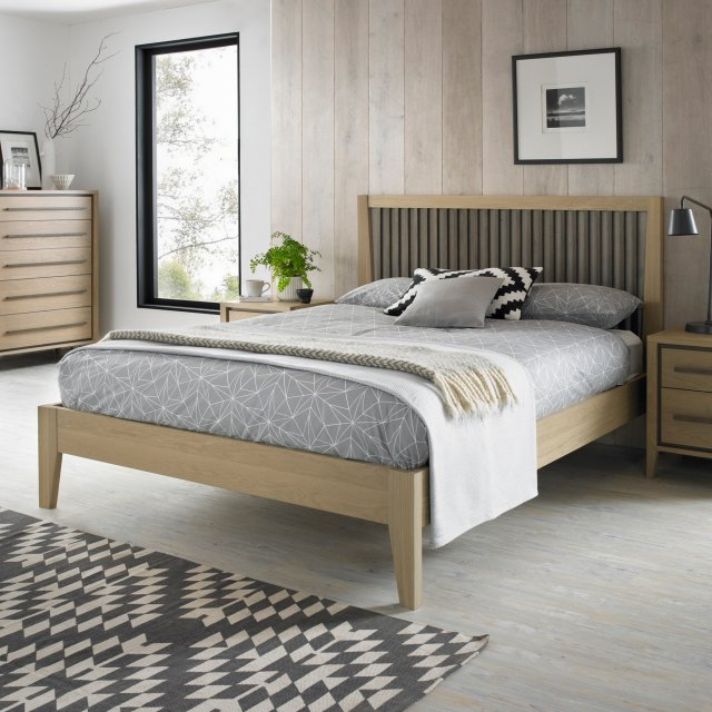 Premier Collection Rimini Aged Oak & Weathered Oak Slatted Bedstead King 150cm