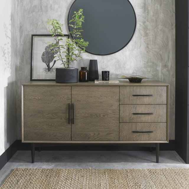 Premier Collection Vintage Weathered Oak & Peppercorn Wide Sideboard
