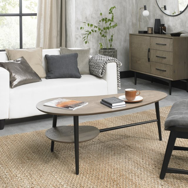 Premier Collection Vintage Weathered Oak Shaped Coffee Table