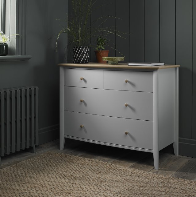 Premier Collection Whitby Scandi Oak & Warm Grey 2+2 Drawer Chest