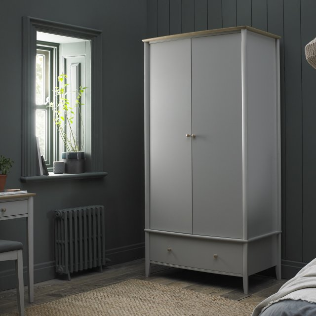 Premier Collection Whitby Scandi Oak & Warm Grey Double Wardrobe