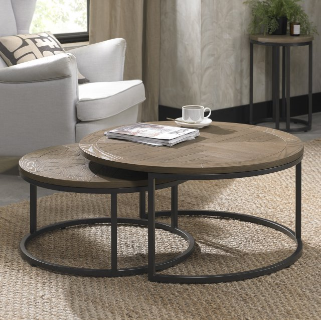Signature Collection Chevron Weathered Ash Coffee Nest Of Tables