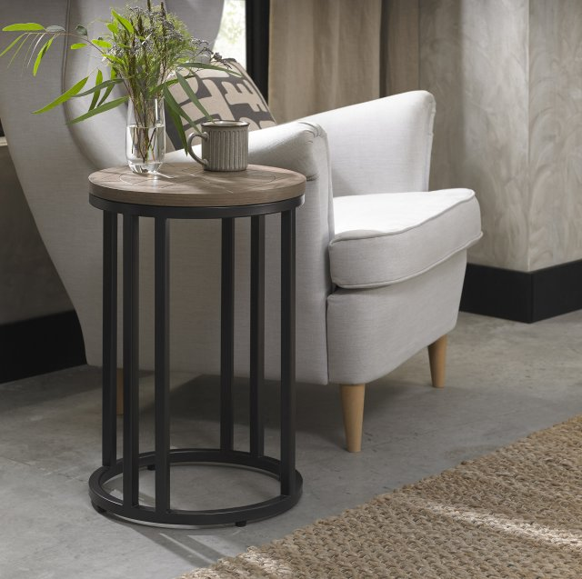 Chevron Weathered Ash Side Table, Side Tables For Living Room