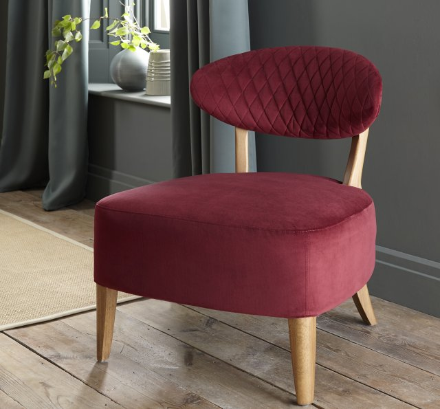 Signature Collection Margot Casual Chair - Crimson Velvet Fabric