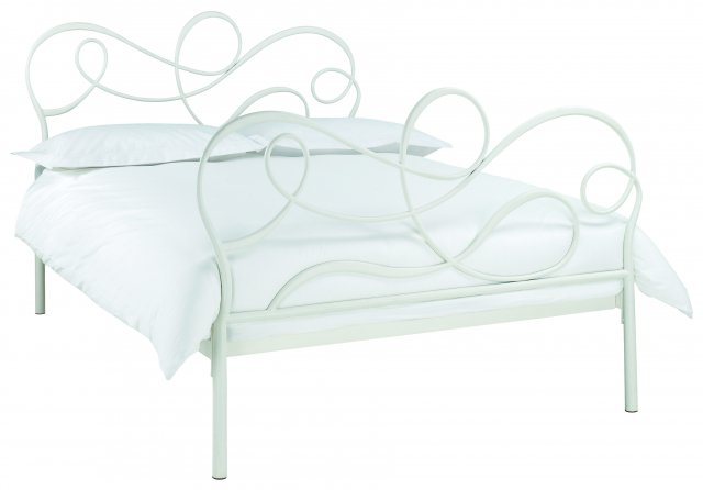 Headboards & Bedsteads Collection Scroll White Bedstead King 150cm