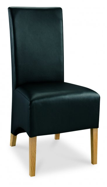Premier Collection Wing Back Oak Chair - Black Faux Leather (Pair)