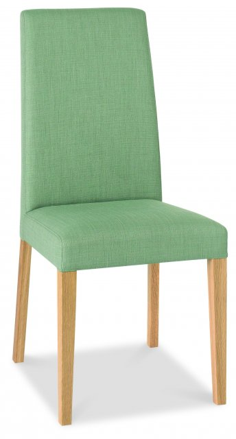 Premier Collection Miles Oak Taper Back Chair - Aqua Fabric (Pair)