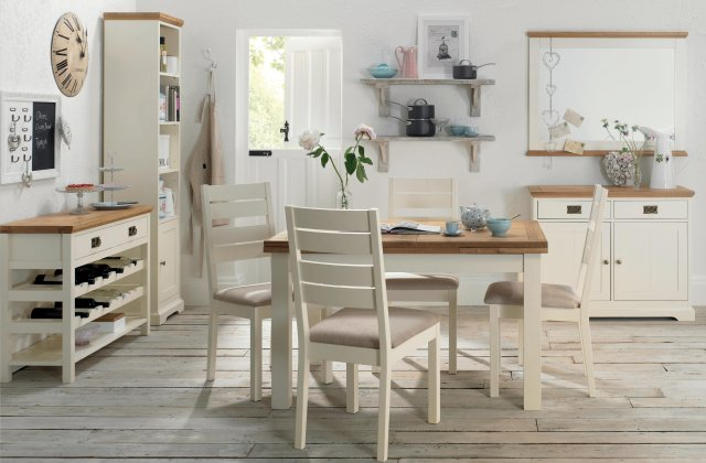 Premier Collection Provence Two Tone Dining Set 'A' - Table & 4 Slatted Chairs