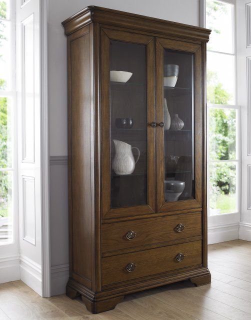 Signature Collection Rochelle Oak Double Display Cabinet