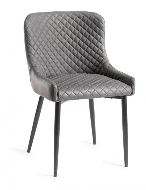Premier Collection Upholstered Chair with Diamond Stitched Pattern - Dark Grey Faux Leather with Black Frame (Pair)