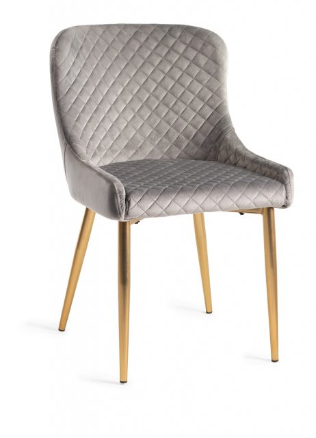Premier Collection Upholstered Chair with Diamond Stitched Pattern - Grey Velvet Fabric with Gold Frame (Pair)