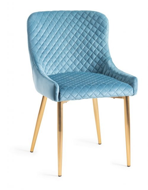 Premier Collection Upholstered Chair with Diamond Stitched Pattern - Petrol Blue Velvet Fabric with Gold Frame (Pair)
