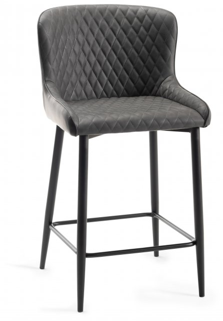 Premier Collection Upholstered Bar Stool with Diamond Stitched Pattern-Dark Grey Faux Leather with Black Frame (Pair)