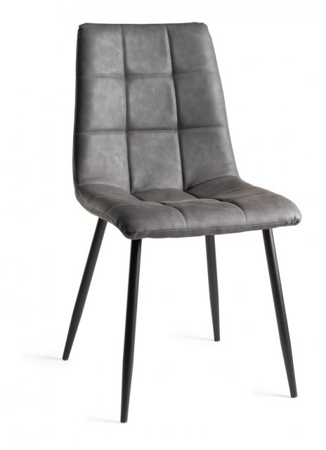Premier Collection Upholstered Tapered Back Chair with Square Stitched Pattern - Dark Grey Faux Leather (Pair)