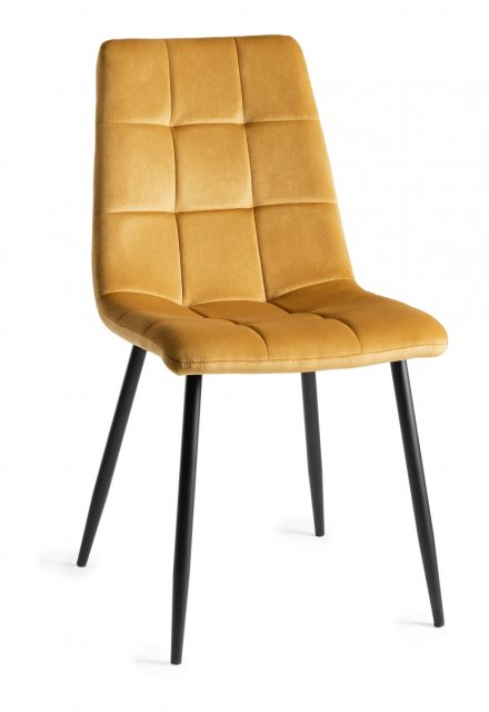 Premier Collection Upholstered Tapered Back Chair with Square Stitched Pattern - Mustard Velvet Fabric (Pair)