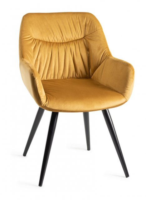 Premier Collection Upholstered Arm Chair with Pleated Back Pattern- Mustard Velvet Fabric with Black Frame (Pair)