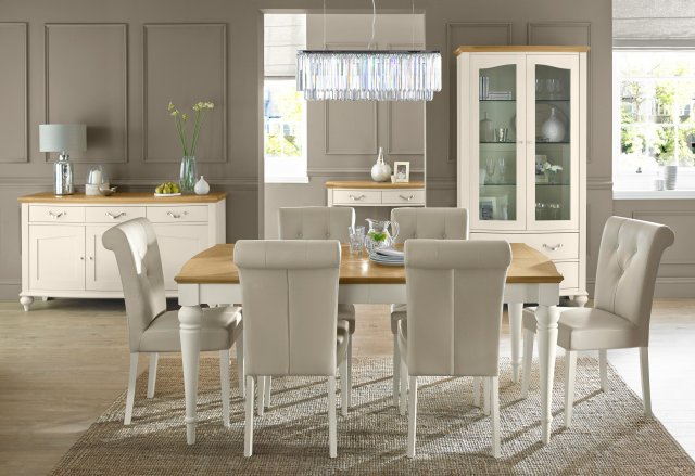 Premier Collection Montreux Pale Oak & Antique White Dining Set - 6-8 Table & 6 Upholstered Chairs