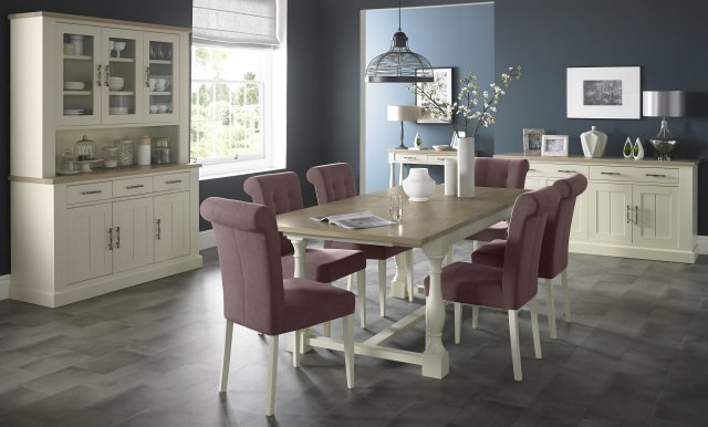 Signature Collection Chartreuse Aged Oak & Antique White Dining Set - 4-10 Table & 6 Mulberry Chairs